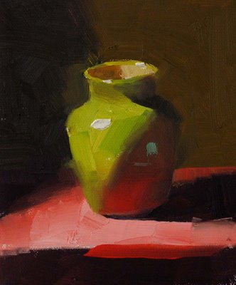 """""""Green on Red --- Sold"""" original fine art by Qiang Huang"""