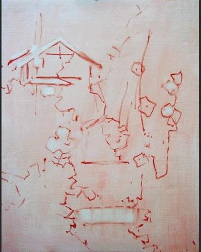 """Slideshow Demo- Cottage Hollyhocks"" original fine art by Mary Maxam"