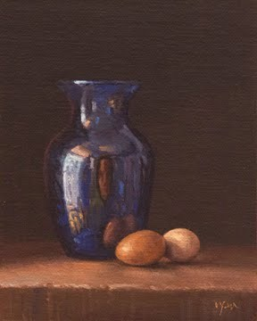 """Still Life with Blue Vase and Farm Eggs"" original fine art by Abbey Ryan"
