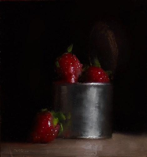 """Can of Strawberries"" original fine art by Neil Carroll"