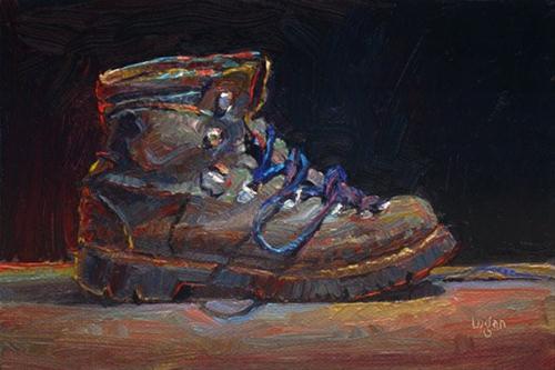 """Hiking Boot"" original fine art by Raymond Logan"