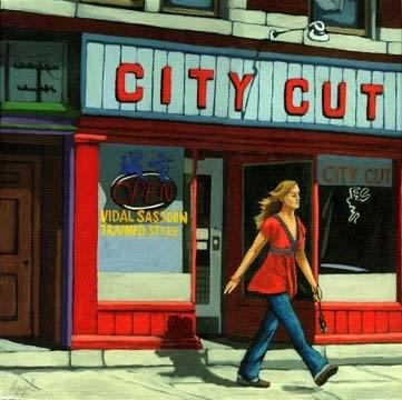 """Woman in Red figurative city scene"" original fine art by Linda Apple"