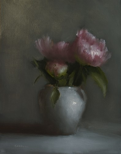 """Peonies in Vase"" original fine art by Neil Carroll"