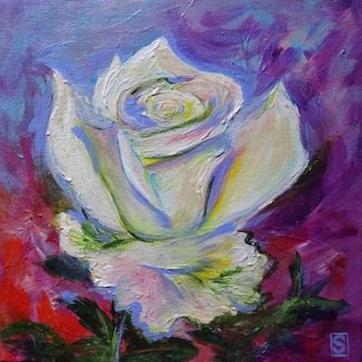 """""""4067 - White Rose II - True Value"""" original fine art by Sea Dean"""