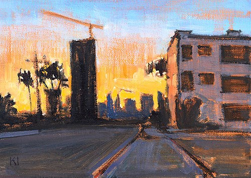 """""""Downtown Sunset, San Diego"""" original fine art by Kevin Inman"""