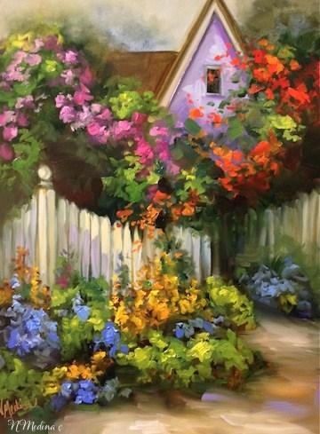 """Coronado Flower Cottage by Texas Artist Nancy Medina"" original fine art by Nancy Medina"