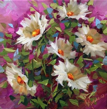 """""""Born to Be Wild Daisies Misbehaving Themselves in the Studio - Flower Paintings by Nancy Medina"""" original fine art by Nancy Medina"""