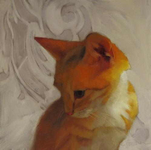 """""""Forever Young II, orange kitten, random musings about the color yellow"""" original fine art by Diane Hoeptner"""