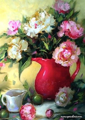 """""""Holiday Pink Peonies and Amazing Things We Learned in Class Today - Flower Paintings by Nancy Medina"""" original fine art by Nancy Medina"""