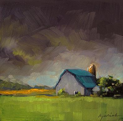 """Blue Barn"" original fine art by Karin Jurick"