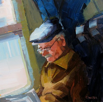 """Man On Train"" original fine art by James Coulter"