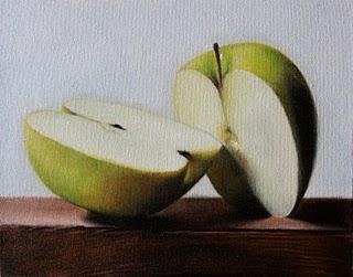 """""""Green Apple"""" original fine art by Jonathan Aller"""