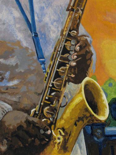 """""""The Sax Player"""" original fine art by Nan Johnson"""