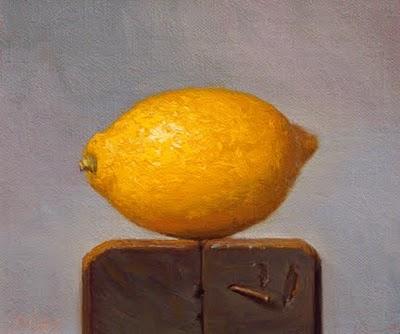 """""""Lemon on a Wood Block"""" original fine art by Abbey Ryan"""