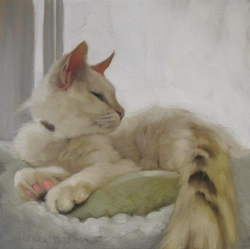 """Through the Window oil painting of white cat"" original fine art by Diane Hoeptner"