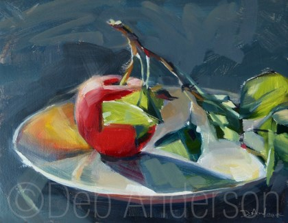 """""""Oil Painting: Apple with Branch"""" original fine art by Deb Anderson"""