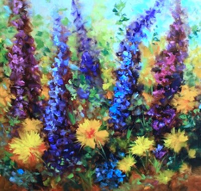 """Delphiniums and Zinnias - Flower Paintings by Nancy Medina"" original fine art by Nancy Medina"
