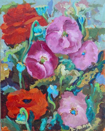 """Poppy Party"" original fine art by Darlene Young"
