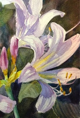 """""""Day 9 - Lavender Crinums - part 2"""" original fine art by Lyn Gill"""