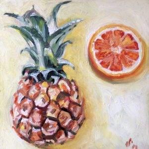 """Ananas meets orange"" original fine art by Sonja Neumann"