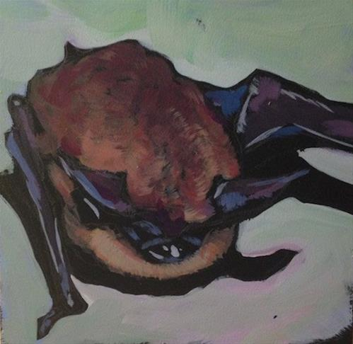 """Cute Little Brown Bat"" original fine art by Kat Corrigan"