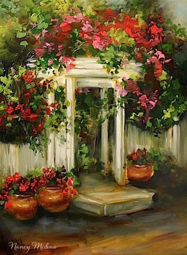 """Cottage Path Geraniums by Texas Flower Artist Nancy Medina"" original fine art by Nancy Medina"