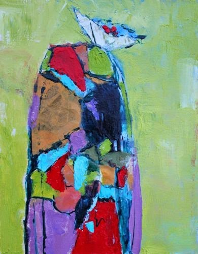 """""""Cactus Flower, Contemporary Abstract Paintings by Arizona Artist Amy Whitehouse"""" original fine art by Amy Whitehouse"""