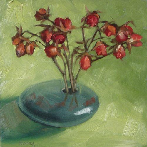 """""""Dried rosebuds in green 6x6 oil"""" original fine art by Claudia Hammer"""