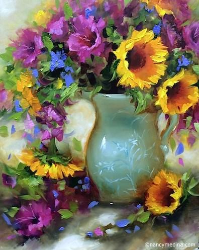 """Fuschia Glads and Sunflowers and a New DVD - Flower Paintings by Nancy Medina"" original fine art by Nancy Medina"