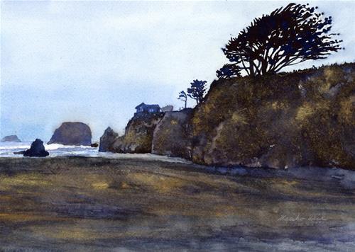 """Seaside Beach in Gold"" original fine art by Mariko Irie"