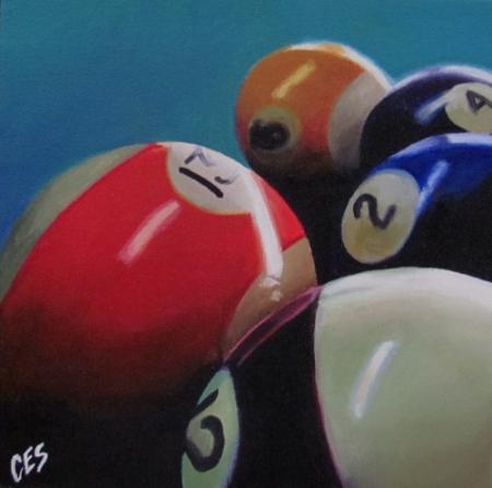 """Pool Balls 12, 13, 2, 4, and 9"" original fine art by ~ces~ Christine E. S. Code"