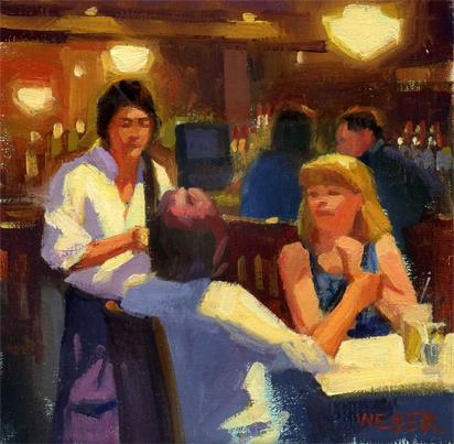 """Dinner at McFaddens- study"" original fine art by Kathy Weber"