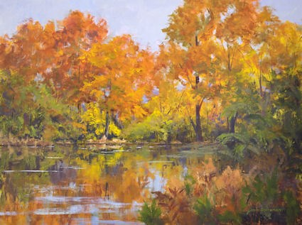 """Backlit Reflections at the Beaver Pond"" original fine art by Jamie Williams Grossman"