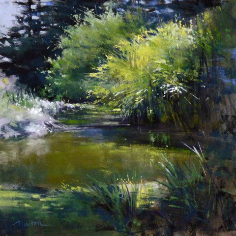 """Garden Pond"" original fine art by Barbara Benedetti Newton"