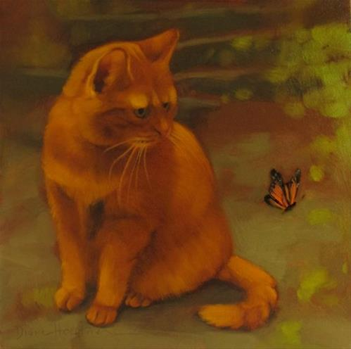 """Bertrand and the Butterfly a new cat painting"" original fine art by Diane Hoeptner"