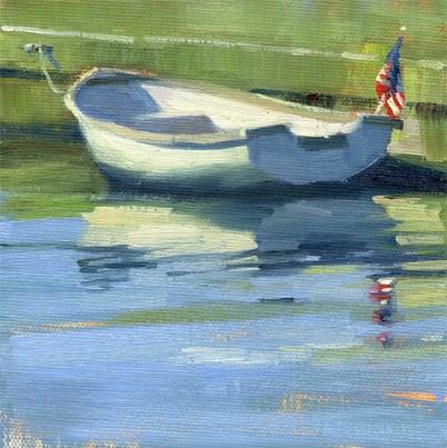 """Skiff with flag"" original fine art by Kathy Weber"