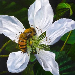 """Blackberry Blossom And Bee 4x4"" original fine art by M Collier"
