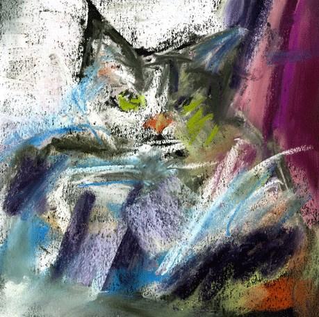 """Cat Perch"" original fine art by Donna Crosby"