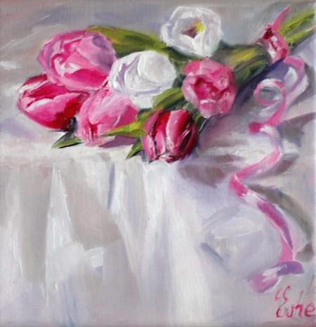 """""""Le petit bouquet de tulipes"""" original fine art by Evelyne Heimburger Evhe"""