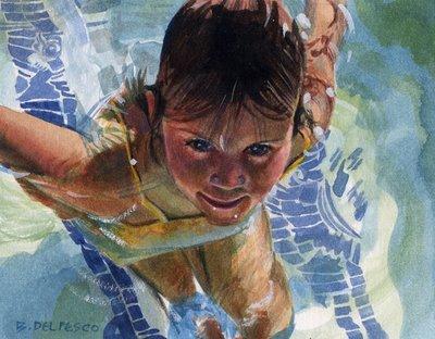 """""""Watercolor: Mermaid Intern"""" original fine art by Belinda Del Pesco"""