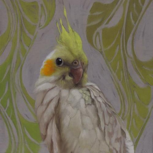 """""""Getting to Know You II,  Painting of a Cockatiel"""" original fine art by Diane Hoeptner"""