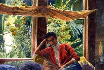 """Watercolor: Window Seat"" original fine art by Belinda Del Pesco"