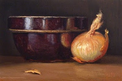 """Still Life with Onion and Bowl"" original fine art by Abbey Ryan"