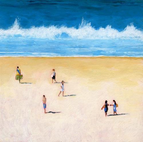 """beach walkers acrylic painting"" original fine art by Ria Hills"