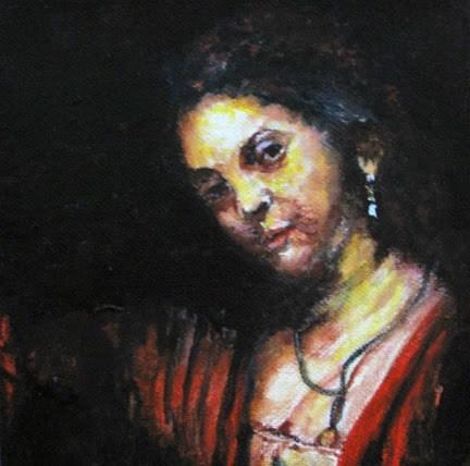 """Rembrandt's Young Girl - variation"" original fine art by Nan Johnson"