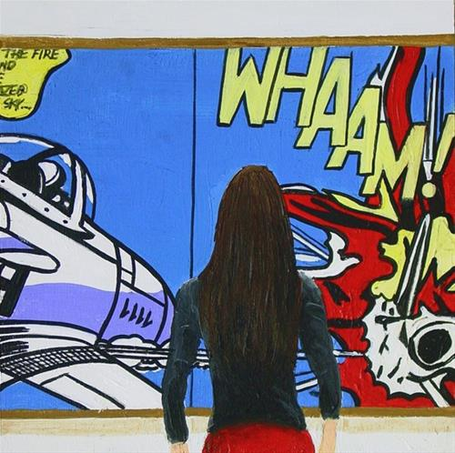 """""""Whaam!- Woman Enjoying Painting By Roy Lichtenstein"""" original fine art by Gerard Boersma"""