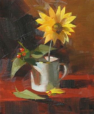 """""""Yellow Daisy"""" original fine art by Qiang Huang"""
