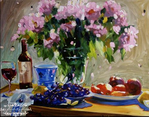"""""""VASE DE HYDRANGEA"""" original fine art by Cecilia Rosslee"""