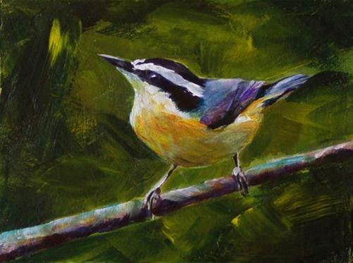 """""""RED BREASTED NUT HATCH"""" original fine art by Brian Cameron"""