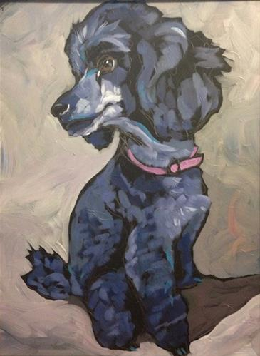 """Poodle Pose"" original fine art by Kat Corrigan"